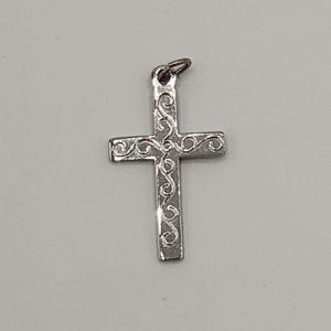 Sterling Silver Cross Charm for a Necklace Etched